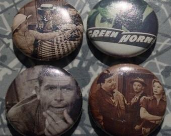 "Retro TV Little Rascals Honeymooners 1"" Pin Set of 4 Pinback Buttons Green Hornet Andy Griffith Show"