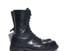 12 D | Double H / HH Paratrooper Jump Boots Cap Toe Combat Boots Black Leather