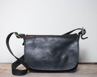 Vintage Coach Bag Black Leather Large Saddle Satchel Handbag