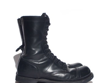12 D | Double H / HH Paratrooper Jump Boots Cap Toe Combat Boots Black Leather