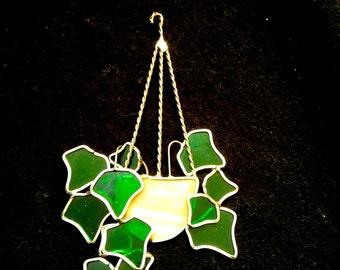 Vintage Leaded Glass Window Sun Catcher.  Hanging basket of Ivy.  Vintage 1970.  Kitsch. Mod, pop, Mid century, Eames Panton era.