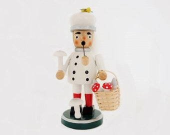 Vintage German Incense Burner Smoker Man in White with a Pipe and a White and Grey Hat Holding a Mushroom and a Basket of Toadstools