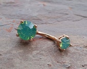 Mint Green 14kt Rose Gold Belly Button Ring Prong Set