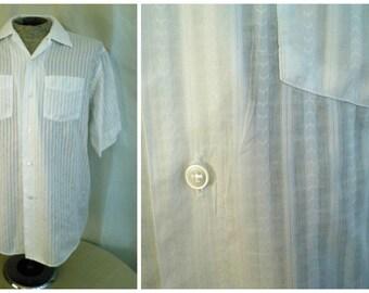 Vintage 1950's Shirt White Man's Summer Shirt Woven Stripe Rockabilly