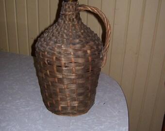 Wicker Wrapped Wine Bottle-One Gallon-Amber Glass