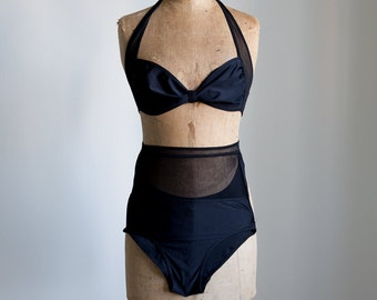 Vintage vamp swimsuit with high waist