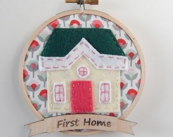 New Home Embroidery Hoop Ornament