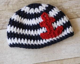 Crochet Baby Hat, Striped Baby Hat, Baby Boy Hat, Baby Girl Hat, Custom Baby Hat, Anchor Baby Hat, Flower Baby Hat, Shark Baby Hat