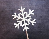 Snowflake Cupcake Toppers, Party Decor, Frozen Party, Weddings, Showers, Birthdays, Winter, Cream, Set of 15