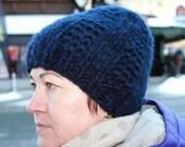 Alpaca Hat, Winter Beanie, Dark Blue Beanie, Women's Hat, Men's Hat
