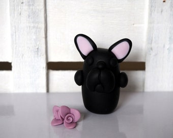 French Bulldog Black Frenchie Handmade Bulldogs Black dog sculpture