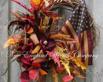 Fall Wreath, Autumn Wreaths, Fall Patriotic Wreath, Americana Wreath, Elegant Fall Wreath, Woodland Patriotic Wreath, Tea Stained Flag