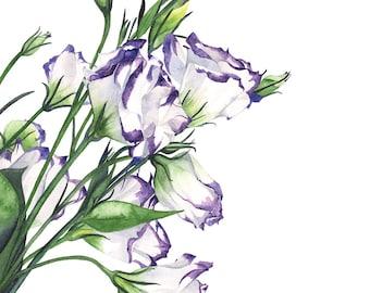 Lisianthus watercolor painting print, L9216. A3 largest size, Lisianthus print, flower watercolor, floral watercolor, botanical art
