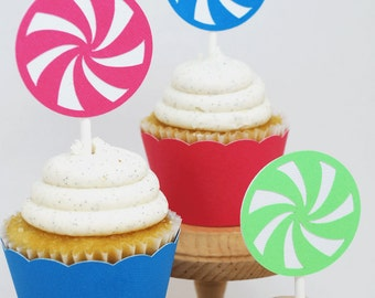 Lollipop Candy Cupcake Toppers In Your Choice of Color Qty 12