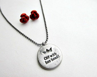 Queen of Hearts Necklace and  Red Rose Stud Earrings