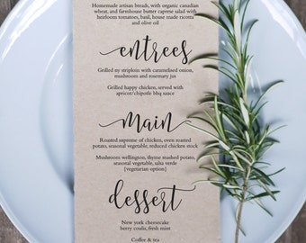 Wedding Menu 13 Printable Template