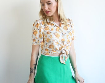 Vintage 1970's emerald green A-line skirt