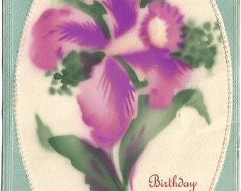 Hand Painted Purple Crocus Spring Flowers Birthday Greetings on Embossed Blue Background Vintage Postcard
