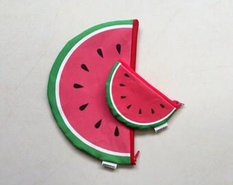 Watermelon summer time zipper pouch set - Big Clutch zipper pouch and a Small coin purse zipper pouch - Set of 2 cute Watermelons