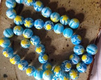 10mm round ball Millefiori glass beads, destash, jewelry supply