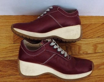 BACI Shoes for Women - Size 6 - Maroon Leather - Lace Up Wedge Platform Sneakers - Vintage 90s Athletic Fashion Footwear