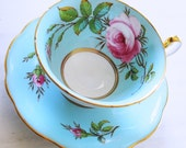Foley Teacup and Saucer Signed Taylor / Hand Painted Tea Cup / Turquoise with Pink Roses