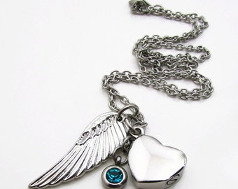 Cremation Memorial Necklace, Stainless Steel Cremation Jewelry, Angel Wing and Heart Urn Necklace, Birthstone Urn, Remembrance Necklace