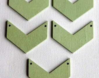Wooden Chevron Tile Bead x5 - Mint Green