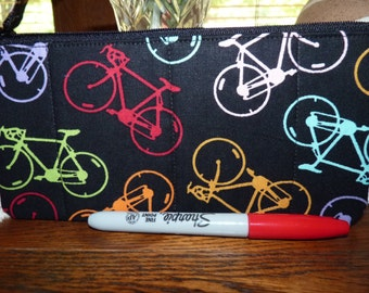 Handcrafted Bicycle Zipper Pencil Case/Travel Bag/ Pouch/ Gadget Bag