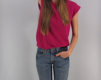 Vintage 80s Angora Top, Fuzzy Blouse, Slouch Top, Wool Knit Top Δ size: sm / md