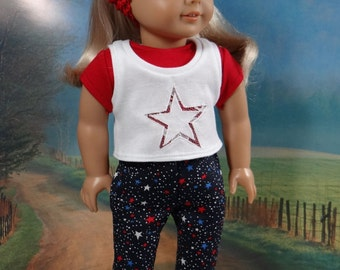 Patriotic outfit for American Girl or similar 18 inch doll, navy capris, red tee, white tee with star applique.