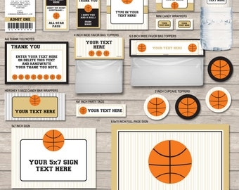 Basketball Party Package - Gold & Black - Basketball Party Printables - INSTANT DOWNLOAD with EDITABLE text - you personalize at home