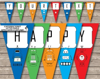 Robot Party Banner - Happy Birthday Banner - Custom Banner - Party Decorations - Bunting - INSTANT DOWNLOAD with EDITABLE text