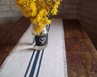 Navy Blue Striped Burlap Table Runner 10 x 48 - 12 x 48 - 14 x 48 Choice of Colors, Vintage Grain Sack Style Runner, Rustic Beach Home Decor