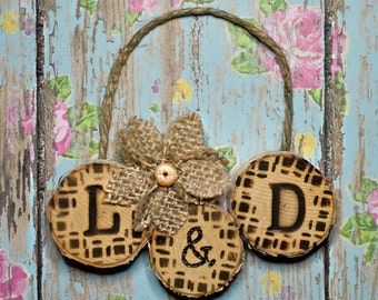 CUSTOM Pyrography Ornament / Couples Wood Burning / Rustic Country Art / One of a Kind / Woodburned / Wooden Decoration / Wedding Initials