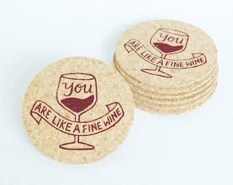Fine Wine Bday - 6 cork coasters