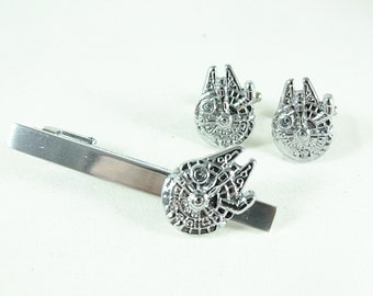 Star Wars Millennium Falcon Silver Tie Clip and Cufflink Set, Gift Box Mens Accessories Handmade