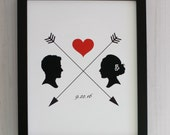 Custom Silhouette  Couple Print made from YOUR PHOTO by Simply Silhouettes - Valentine's Day or First Anniversary Gift Idea