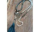 Teal Blue Gemstone Necklace with Handmade Tibetan Tassel and Faceted Smokey Crystal Focal, Bohemian, Boho Chic, Hippie Style