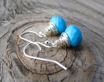 Turquoise Earrings, small, silver wire wrapped, turquoise dangle earrings