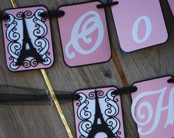 Paris Pink Birthday Party Banner, Parisian Sweet 16,Paris Theme Party