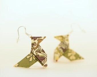 Khaki Liberty origami earrings - sterling silver hooks