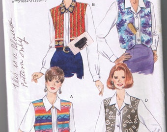 Butterick 3955 Misses Blouse with Vest Overlay - Sizes 12, 14, 16 - UNCUT