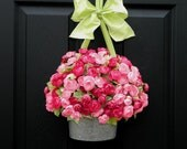 Wreath - Spring Wreath - Mothers Day Gift - Pink Wreath - Flower Basket
