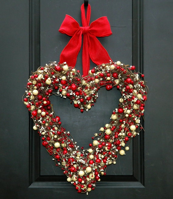 Heart Wreath Valentine Wreath Choose Berry Color Choose