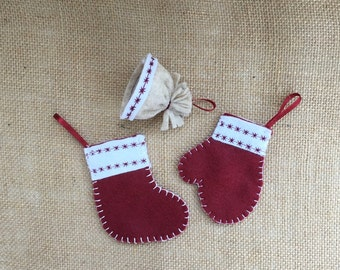 Mini Christmas Stockings Mini Hat Mitten Ornament Burgundy Christmas Stocking Ornament Ornaments Christmas Decor Rustic Ornaments Set of 3