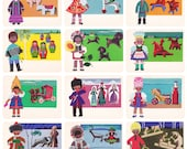 Folk Toys of Soviet Republics, Drawings by E. Rapoport. Complete Set of 12 Vintage Postcards in original cover -- 1966