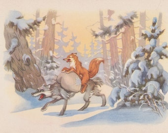 The Fox and The Wolf (Scene from Soviet Cartoon), Drawing by I. Znamensky. Postcard -- 1961