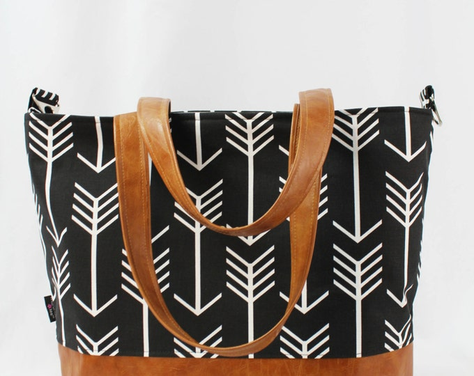 Extra Large Lulu Tote Messenger Diaper Black Arrow with PU Vegan Leather Bottom and Straps - Beach Travel Tote