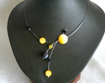 Yellow Black Necklace, Illusion Necklace, Shell necklace, Statement Necklace, Summer necklace